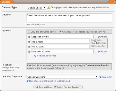 using case management integration as a questionnaire creator